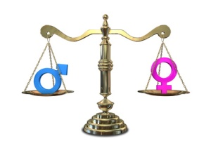 A gold justice scale with the two different gender symbols on either side balancing each other out